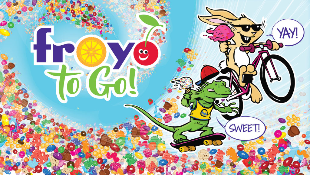 The character outlines were changed to black for more contrast with the background. The sky was filled in with a gorgeous, happy aqua, and the new Froyo to Go logo was placed. The image had been constructed in two directions because it would appear on both sides of the truck, and the logo and characters had to be placed so that they weren't bisected by the sales window, generator, wheel wells, etc. In addition to this, we couldn't just flip the image because the ''S'' on each Skittle would have been backwards. Jason somehow managed to keep his sanity while flipping hundreds of ''S'' logos. The final image file was massive, with more layers than we ever imagined.