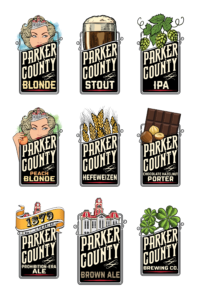 Parker County Brewing Co. tap logos designed by Netta Radice Design, Inc.